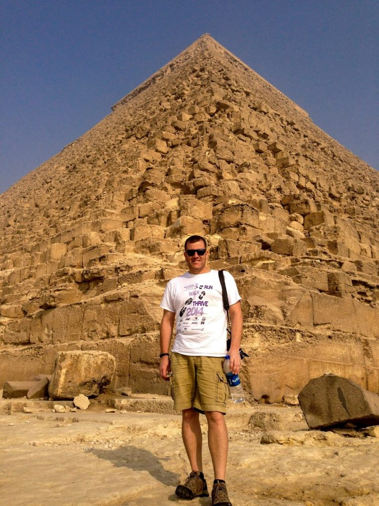 In front of one of the egyptian pyramids