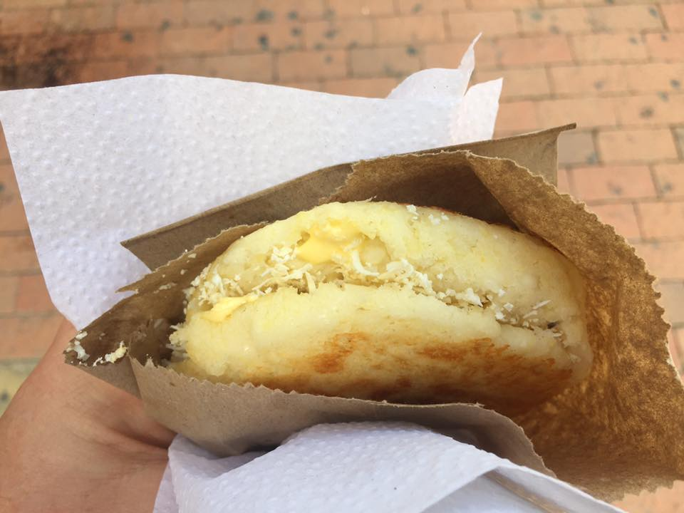 Cartagena Colombia travel tips: An arepa stuffed with queso and butter