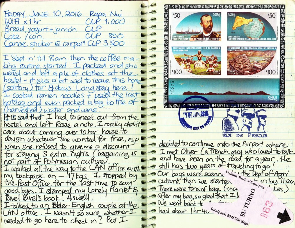 unique travel journal postage stamps - Easter Island