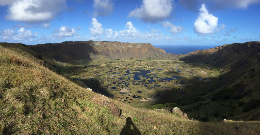 Rano Kau, a dormant volcano and caldera within a walking hike from Hanga Roa