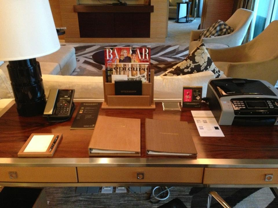 Fax machine, scanner, printer, phone on the desk in our room