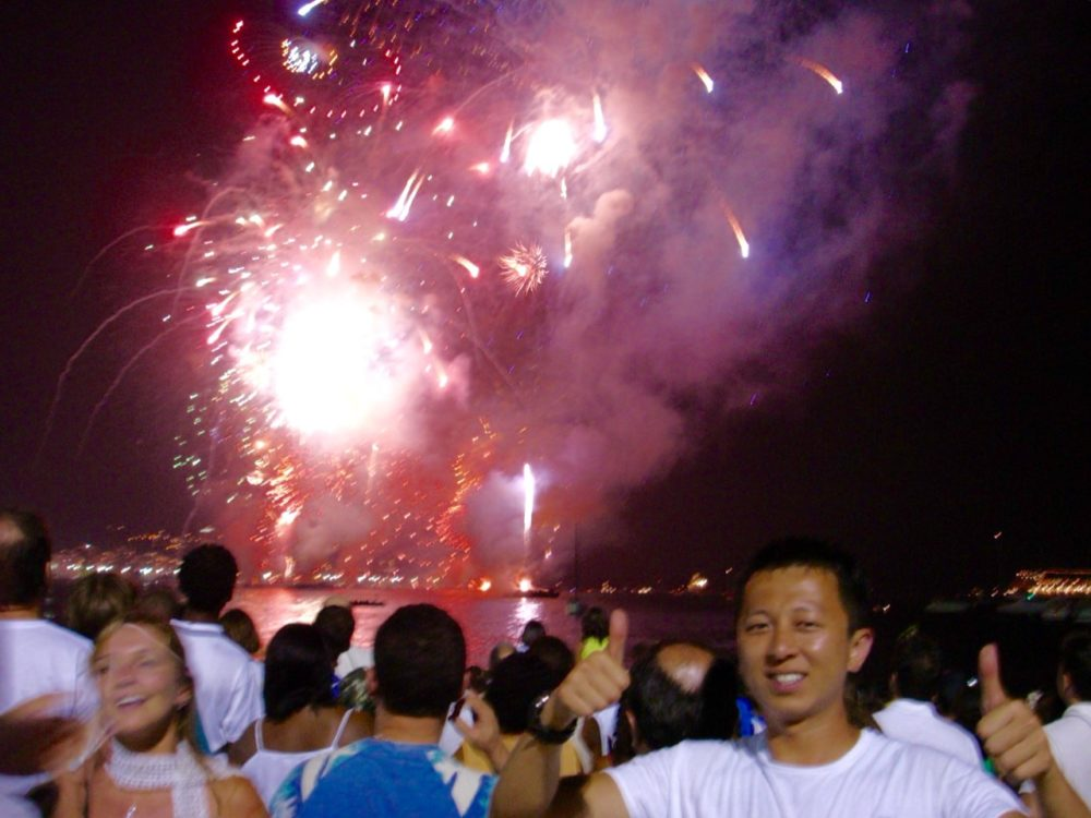 New Year's Eve Fireworks on Copacabana beach. Halef selfie.