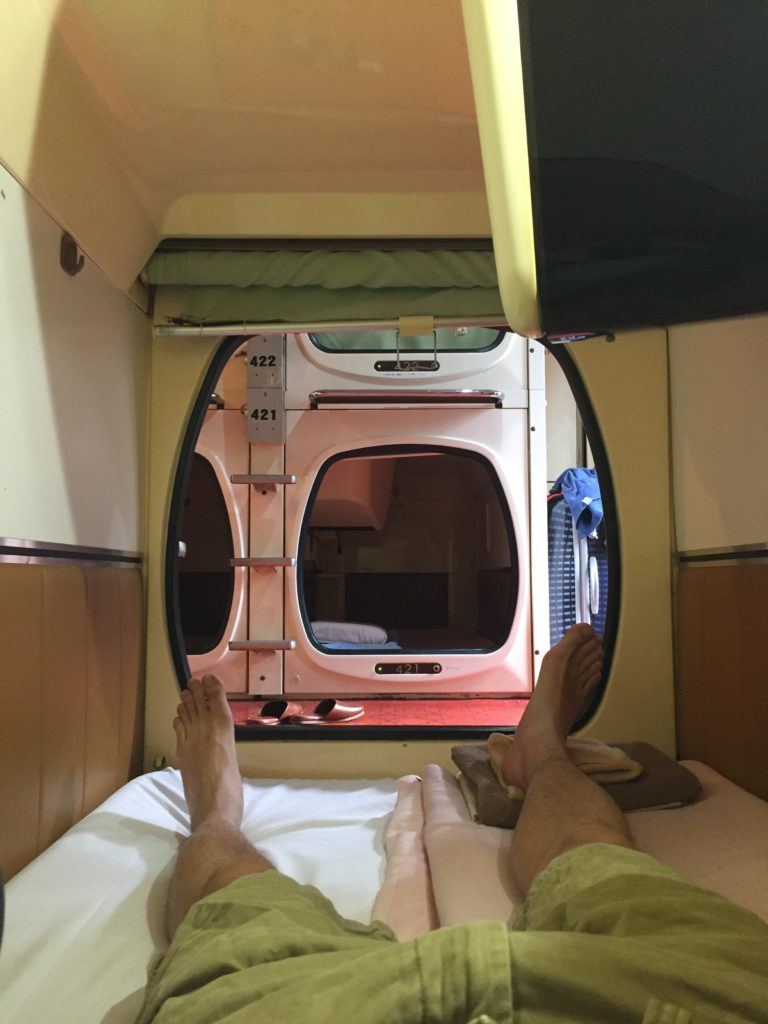 Japanese Capsule Hotel - view from the inside