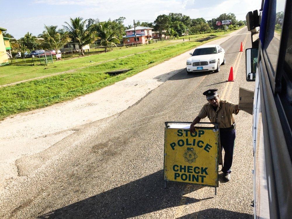 Belize City to Tikal - police checkpoint