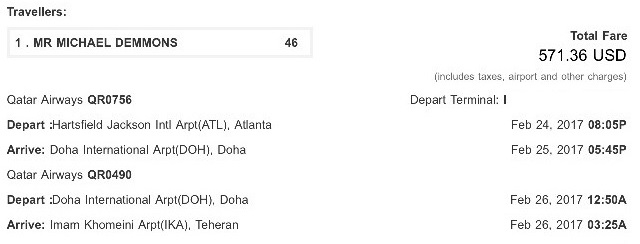 Iran 9-day itinerary: MY flight receipt