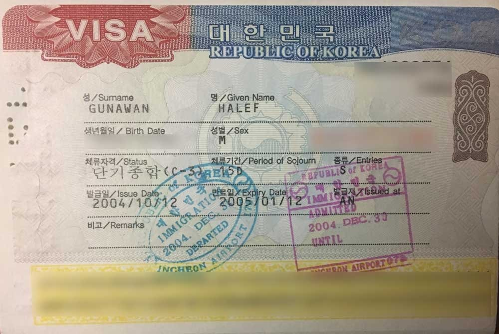 Applying for a visa - Korean visitor visa