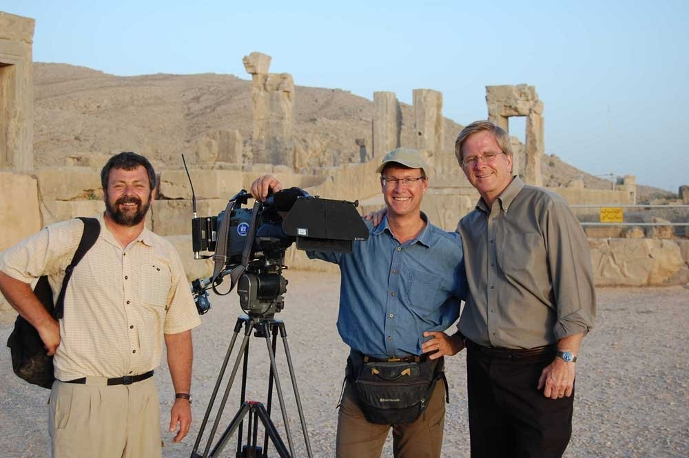 Rick Steves (right) and his crew in Persepolis.