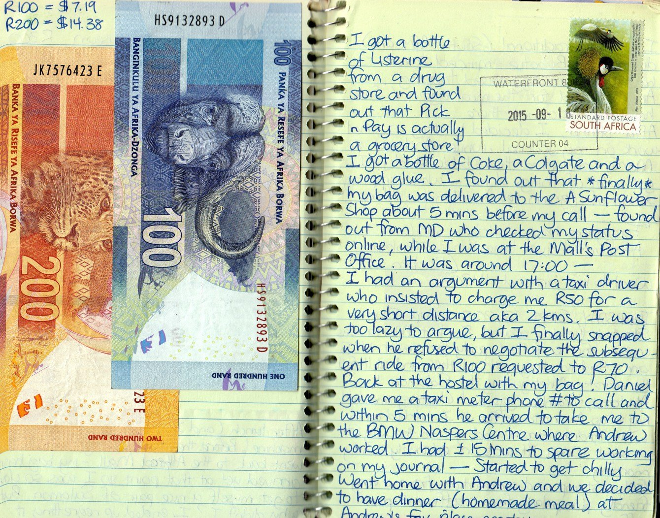 money pasted in a travel journal