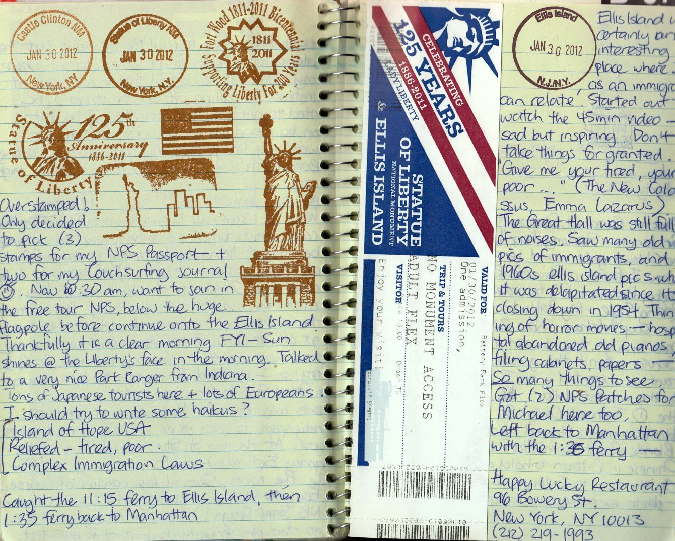 national park stamps in my travel journal