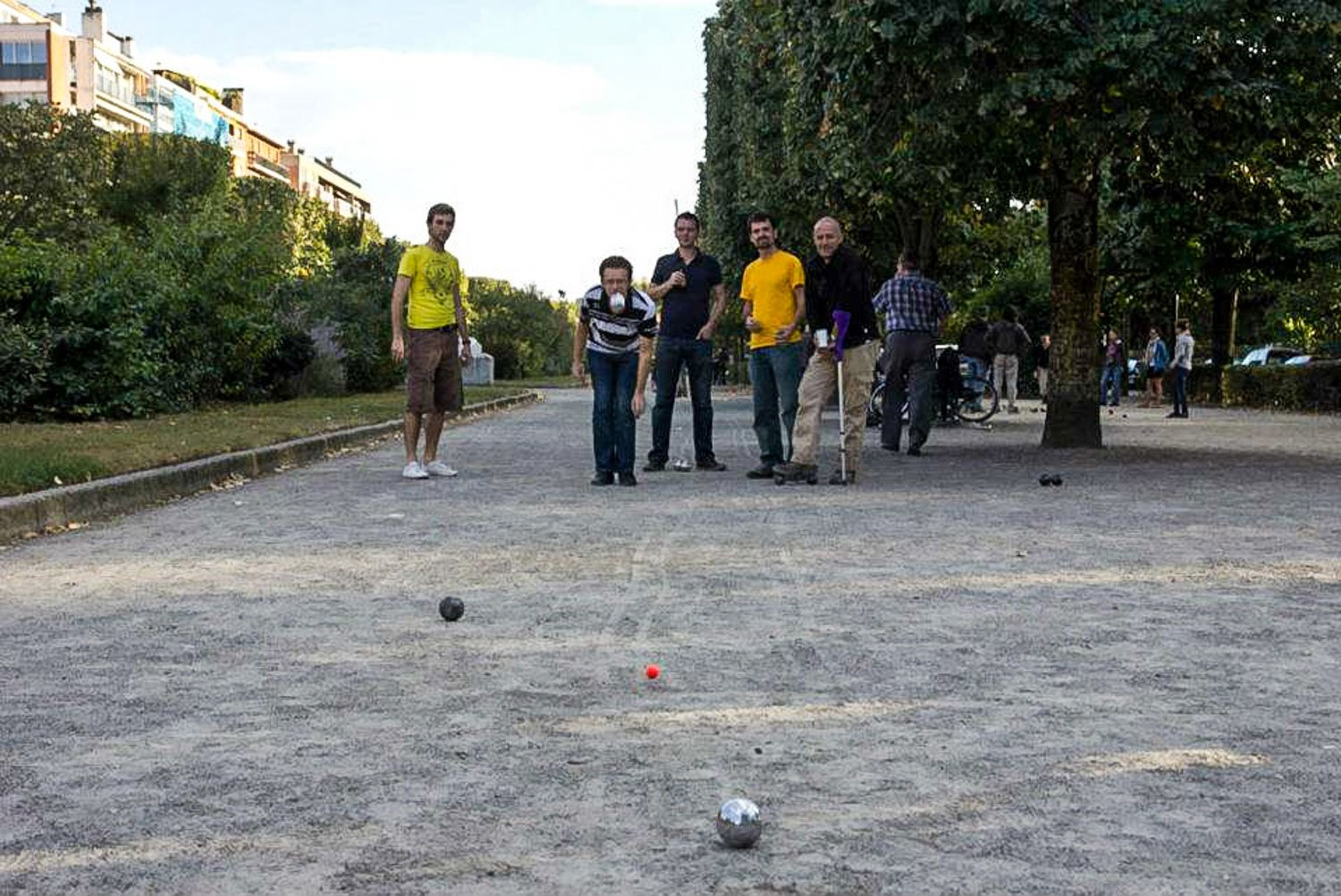 "Playing ""petanque"" with my host and his friends in Toulouse. France"