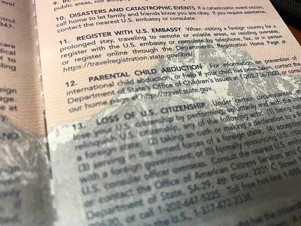 US Passport text on Travel Registration