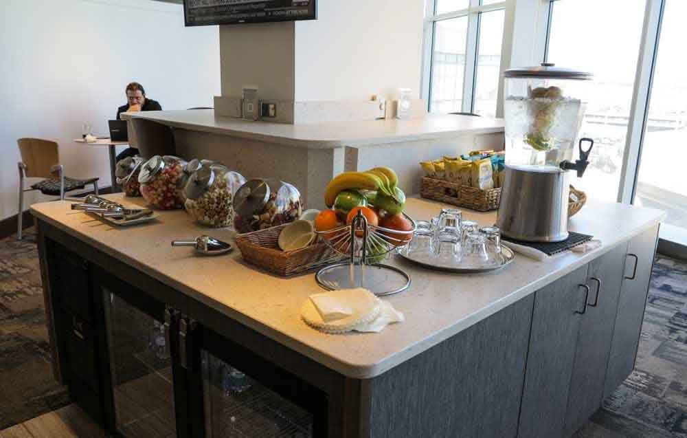 A secondary snack table at the club at atl