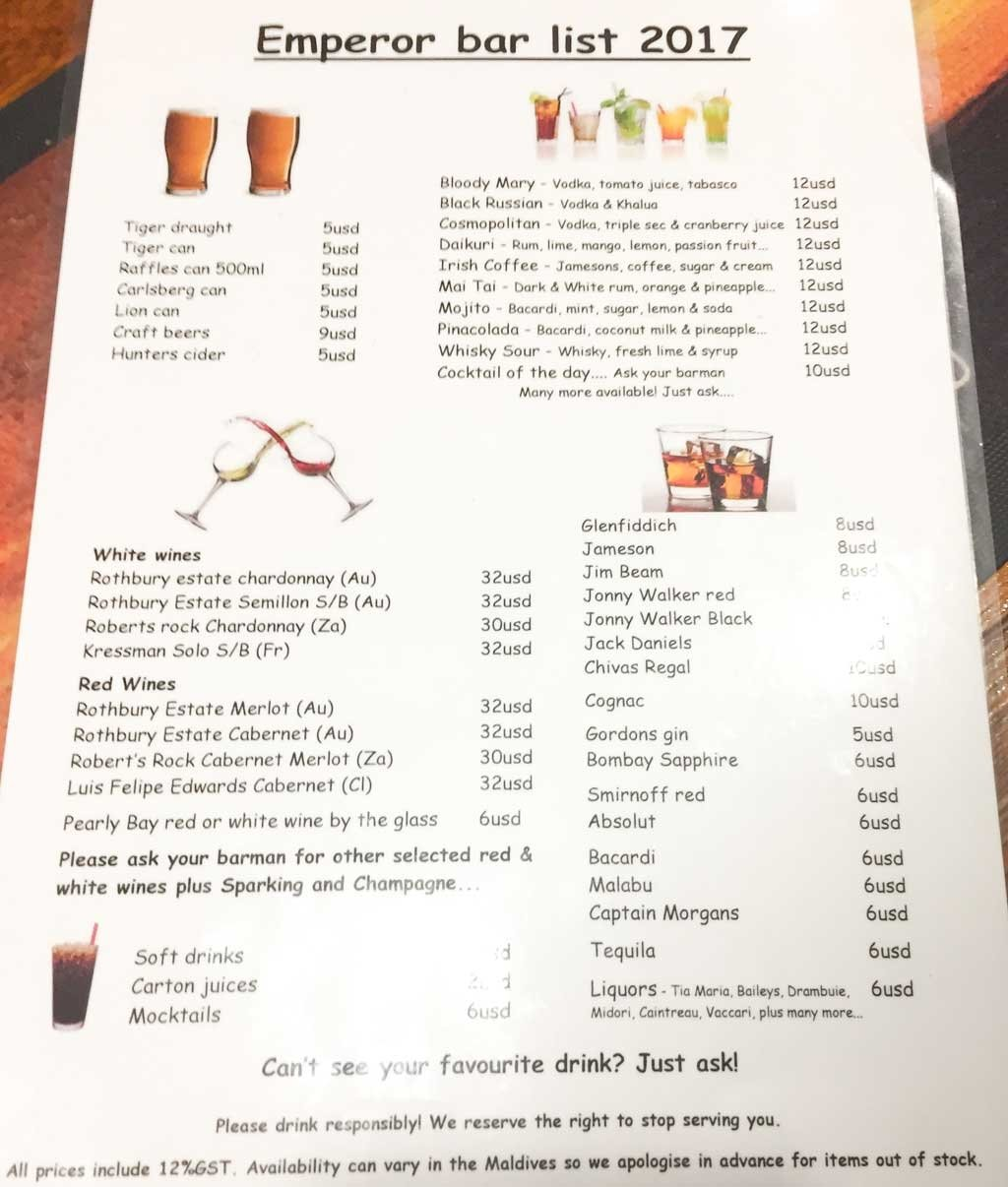 Emperor Leo alcohol menu