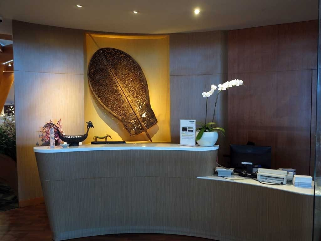 The reception desk at Premier Lounge Bali