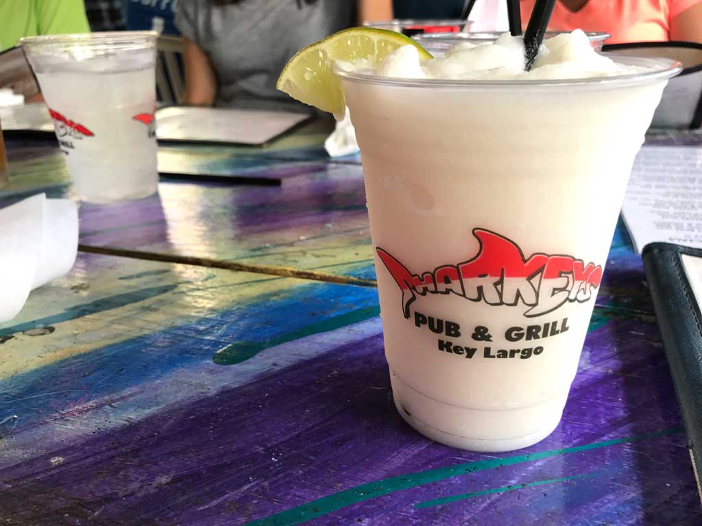 Eat at Sharkeys.  Cup with a frozen Pina colada