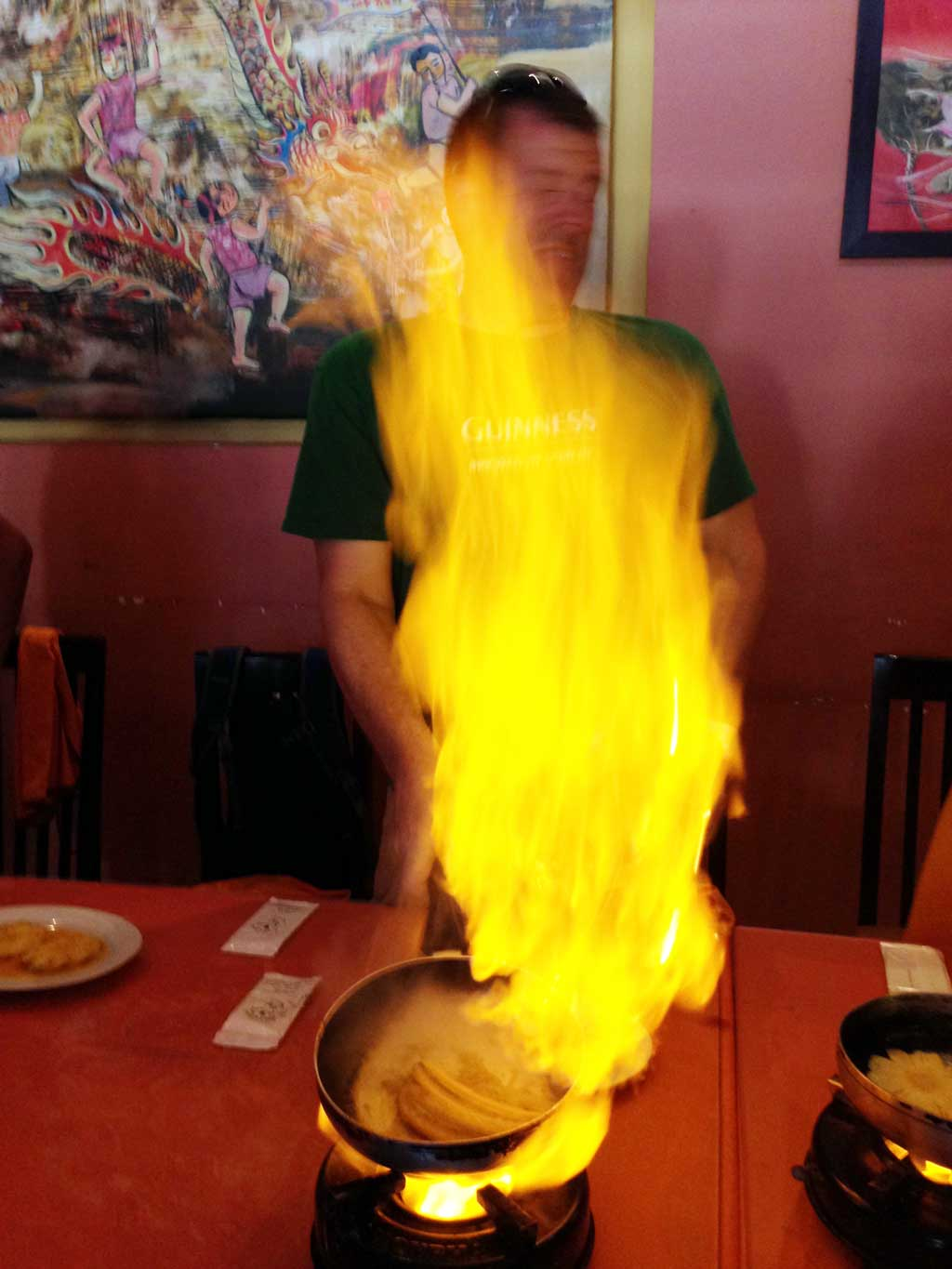 nha trang cooking class: Michael nearly burning the place down