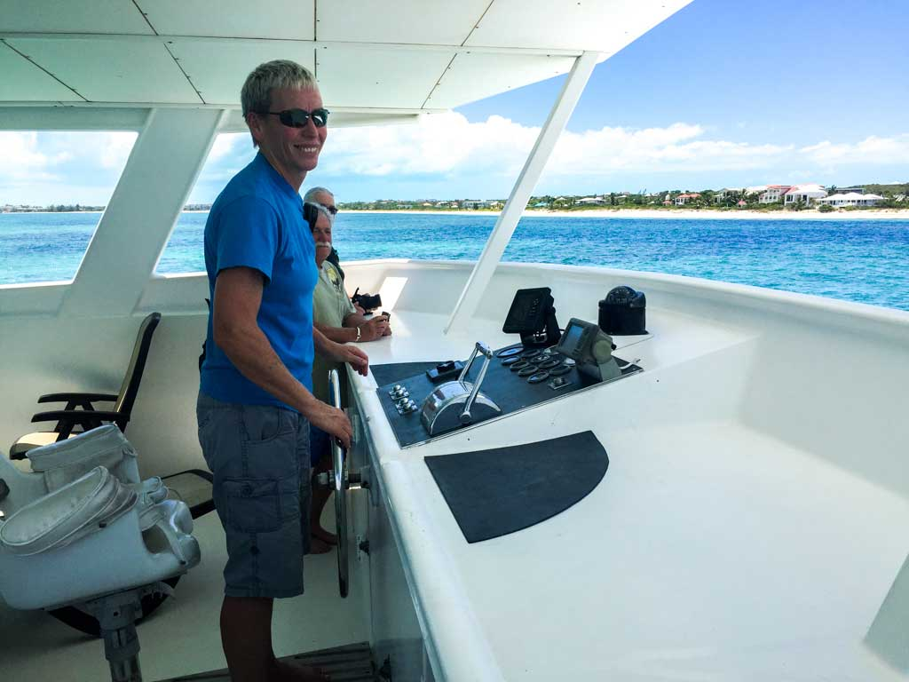 Turks and Caicos Aggressor -Captain Amanda guides the boat into port