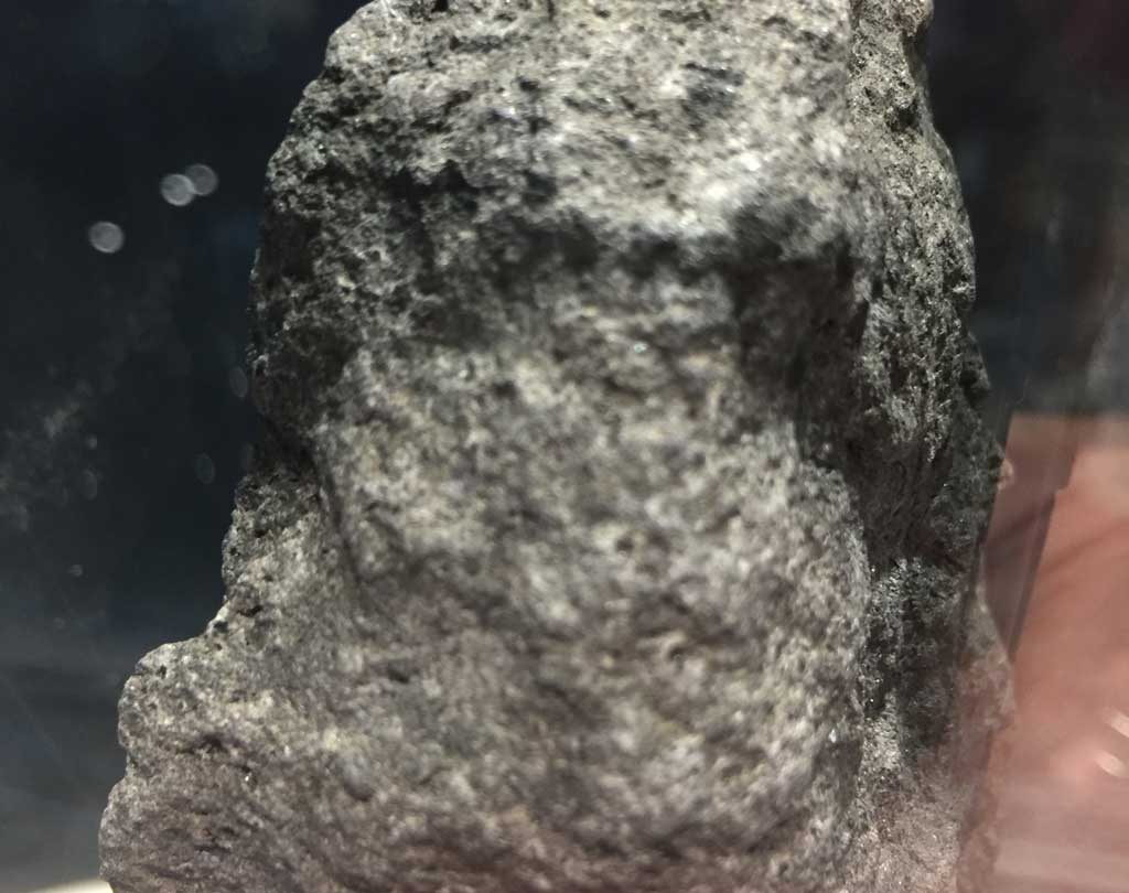 A gray piece of Moon rock