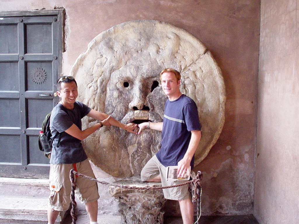 Bocca della Verità, an ancient sewer drain cover - Halef and Ryan selfie