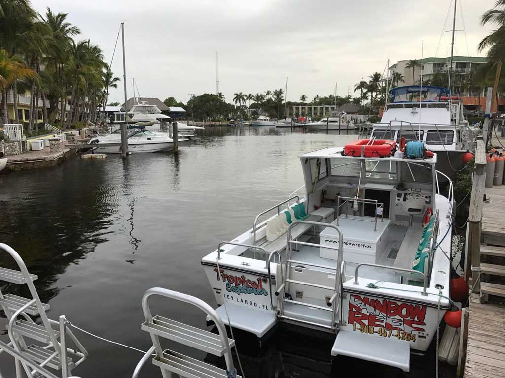 Rainbow Reef dive boat in the canal in Key Largo