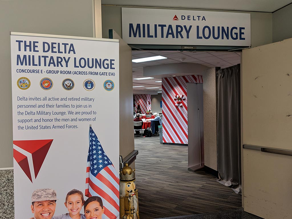 The entrance to the Delta Military lounge in Atlanta