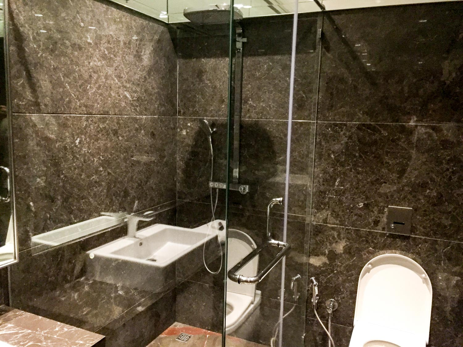 One of the shower rooms at GVK Airport Lounge Mumbai