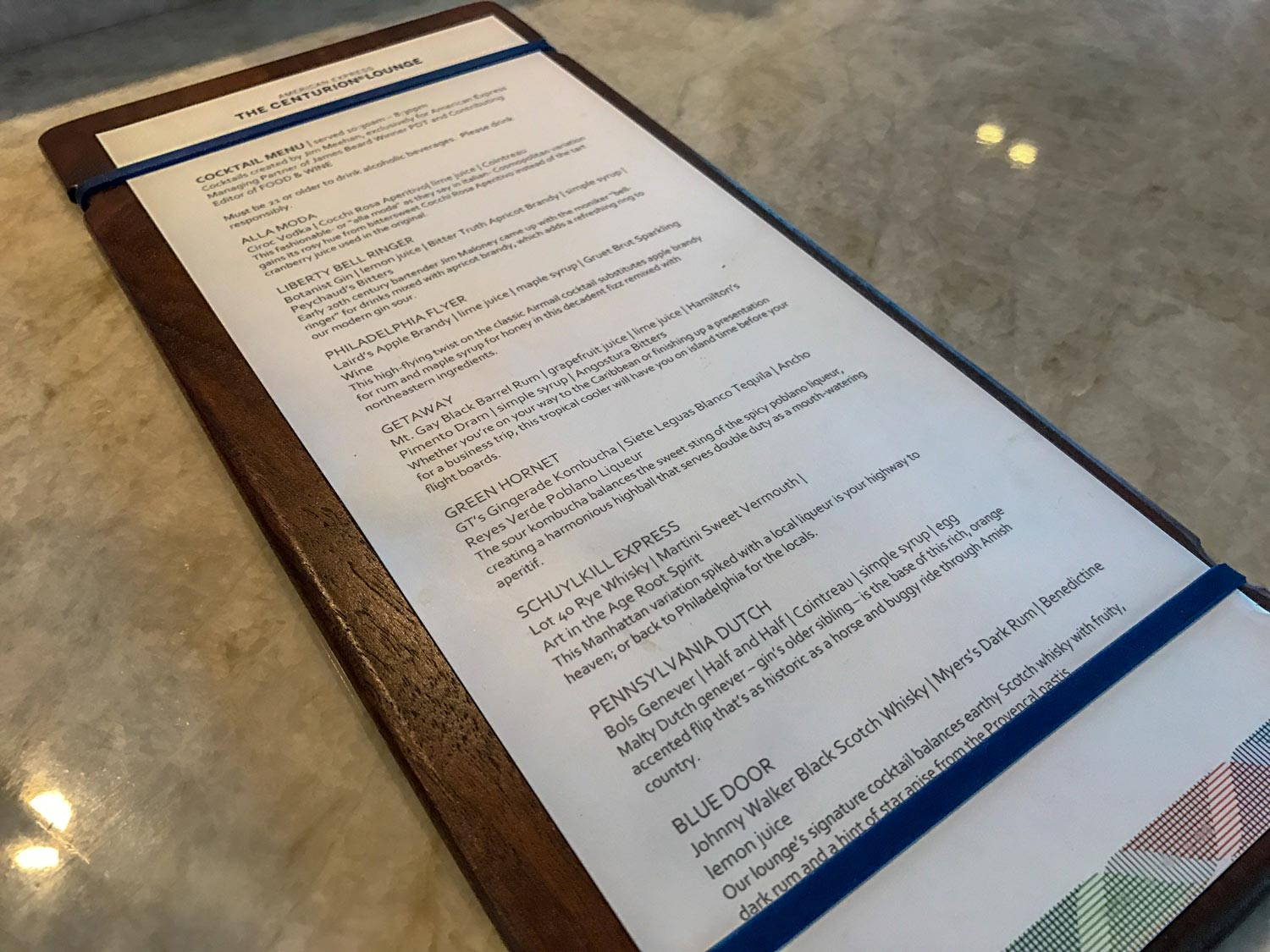 The specialty drink menu at Centurion Lounge in Philadelphia