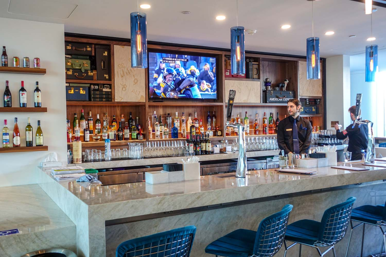 The bar at the Centurion Lounge PHL is fully-stocked