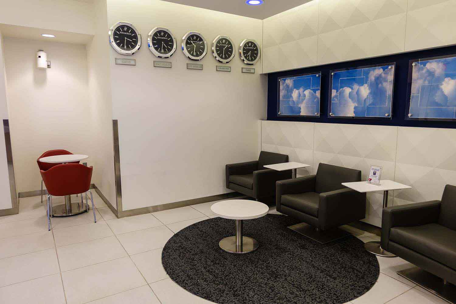 A seating area at the Delta Sky Club at Philadelphia airport
