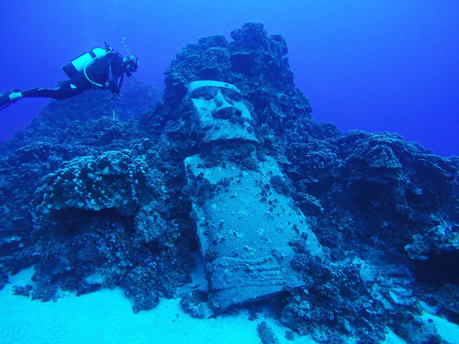 easter island diving moai