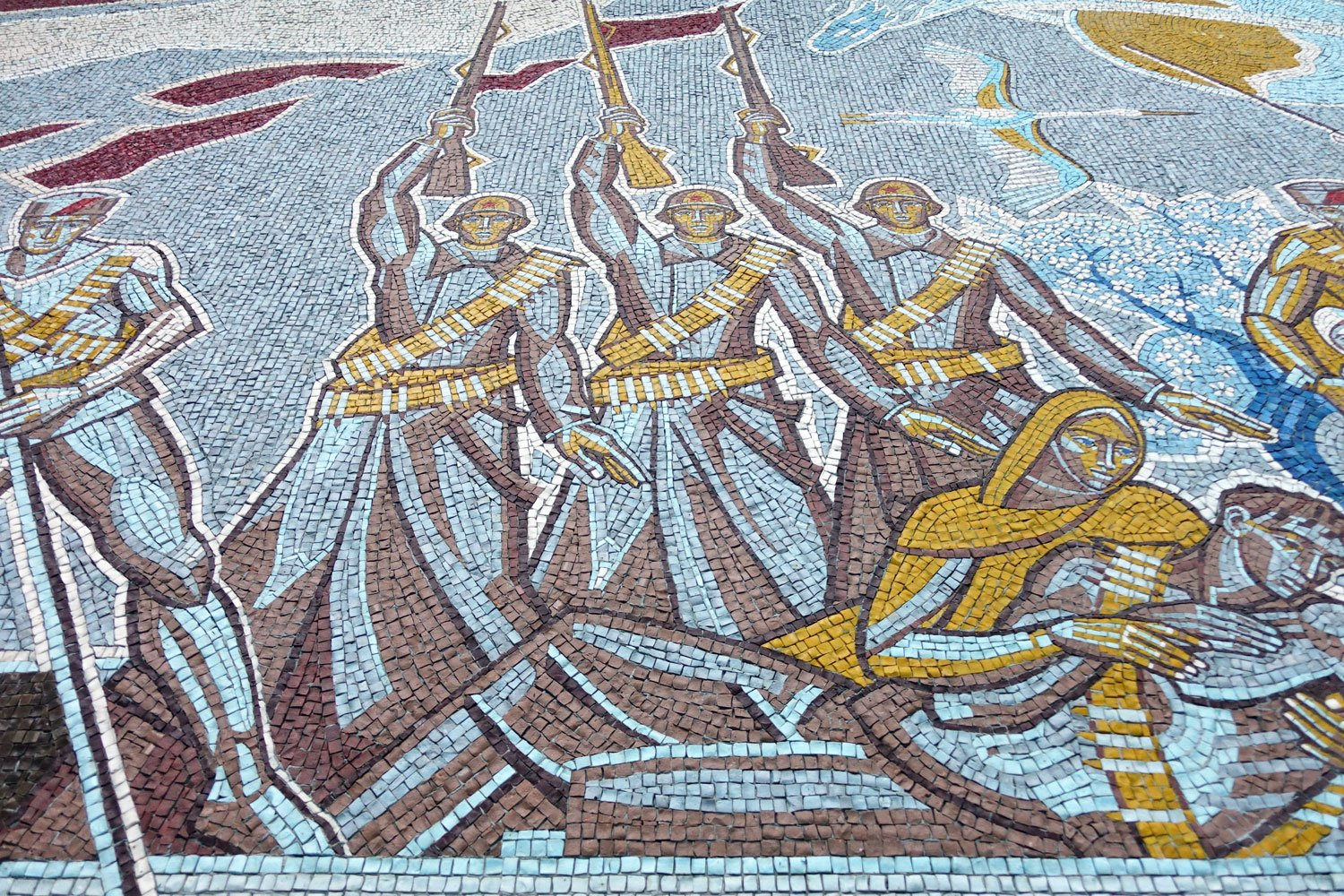 A mosaic of soldiers inside the belarus hotel