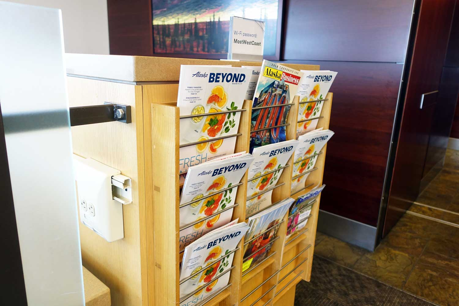 Alaska Airlines Lounge Seattle magazines