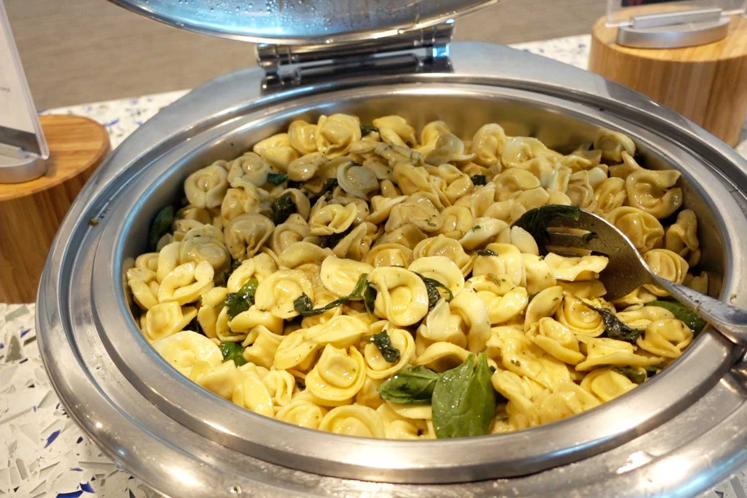 Delta Sky Club in Seattle tortellini