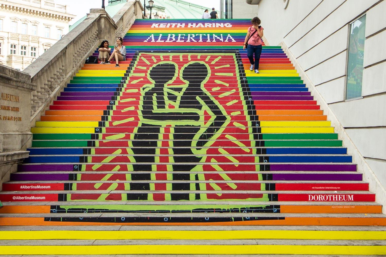 Albertina Museum steps decorated for Gay Pride.