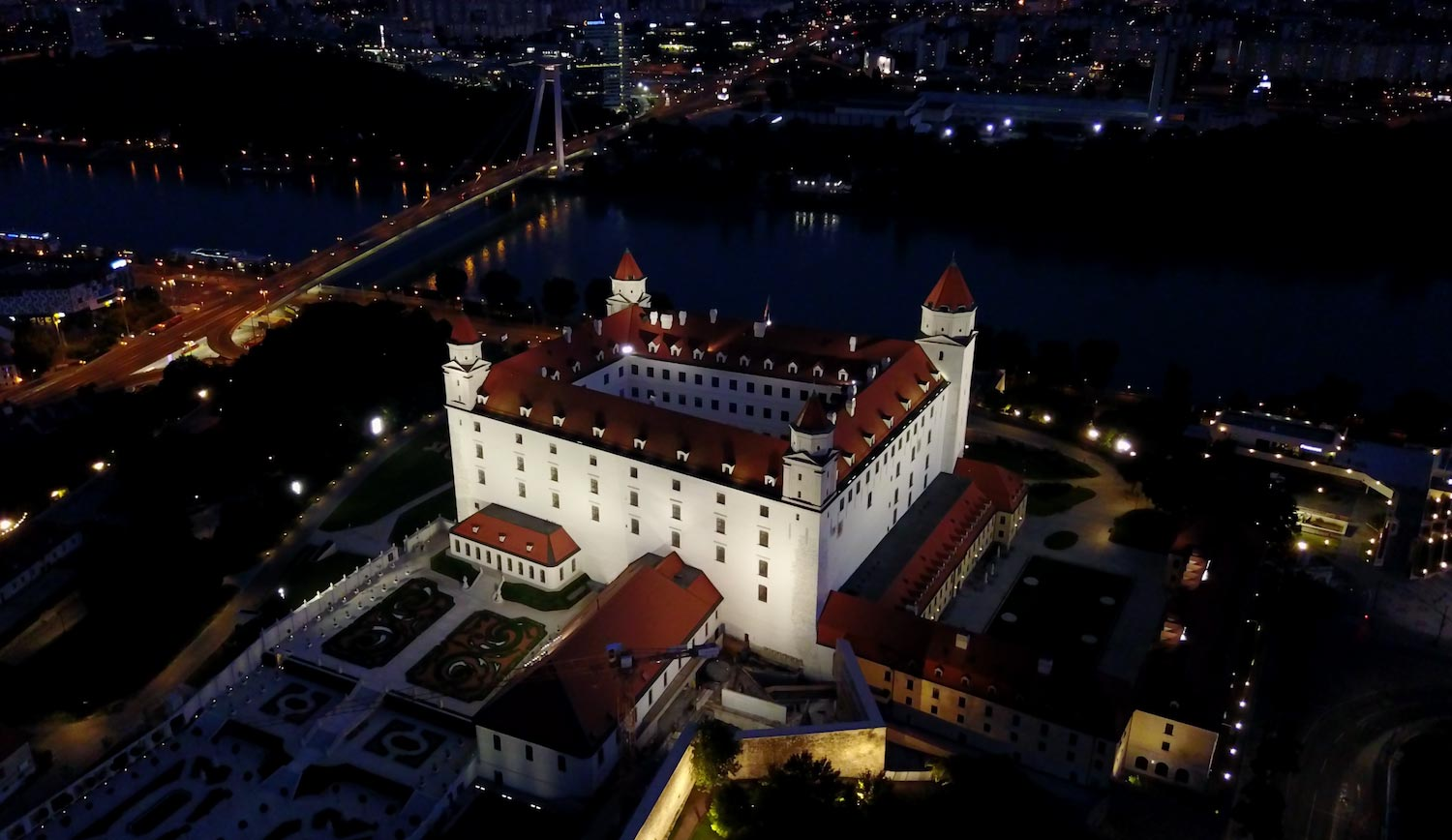 Bratislava Castle at night - taken with the DJI Mavic Pro