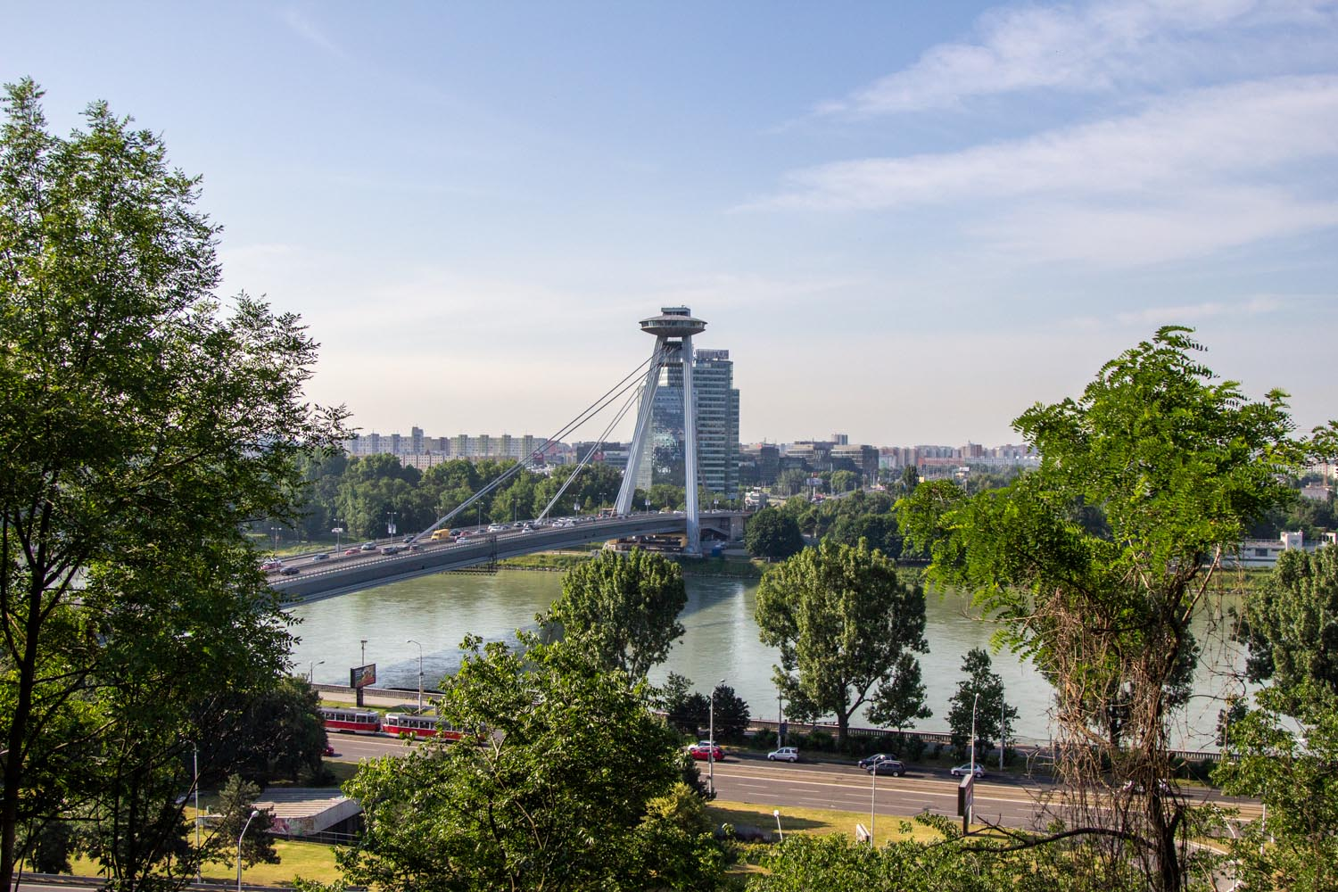 The UFO bridge. One of the top things to do in Bratislava on a budget