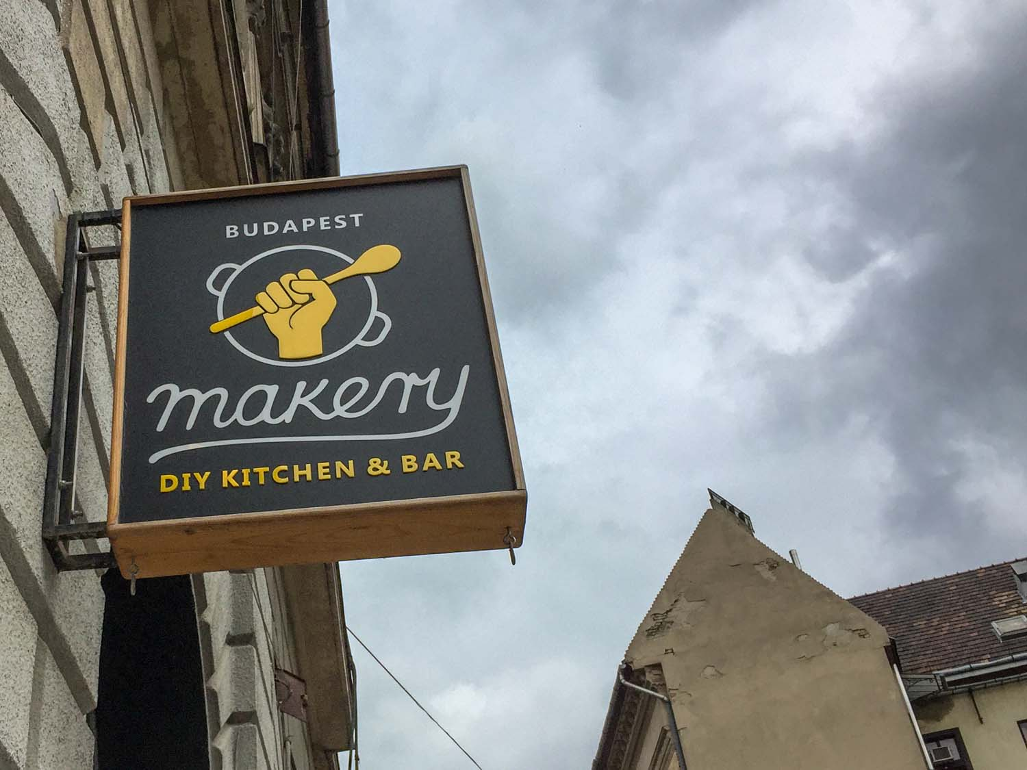 The Budapest Makery is in the Jewish Quarter of the city. The sign outside.