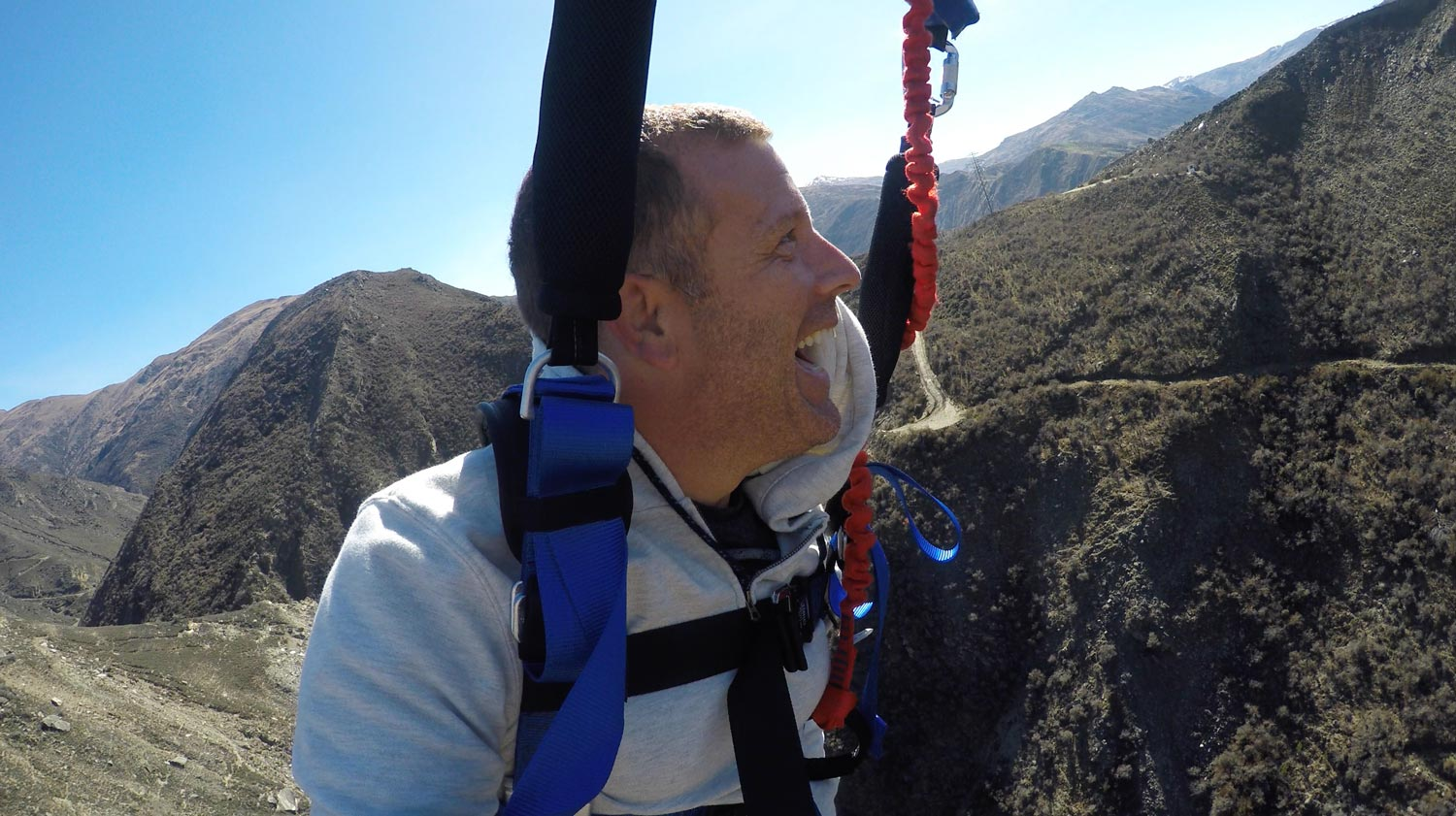 Michael after doing the Nevis Catapult in Queenstown