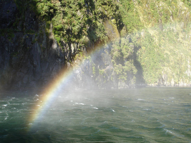 rainbow over milford sound