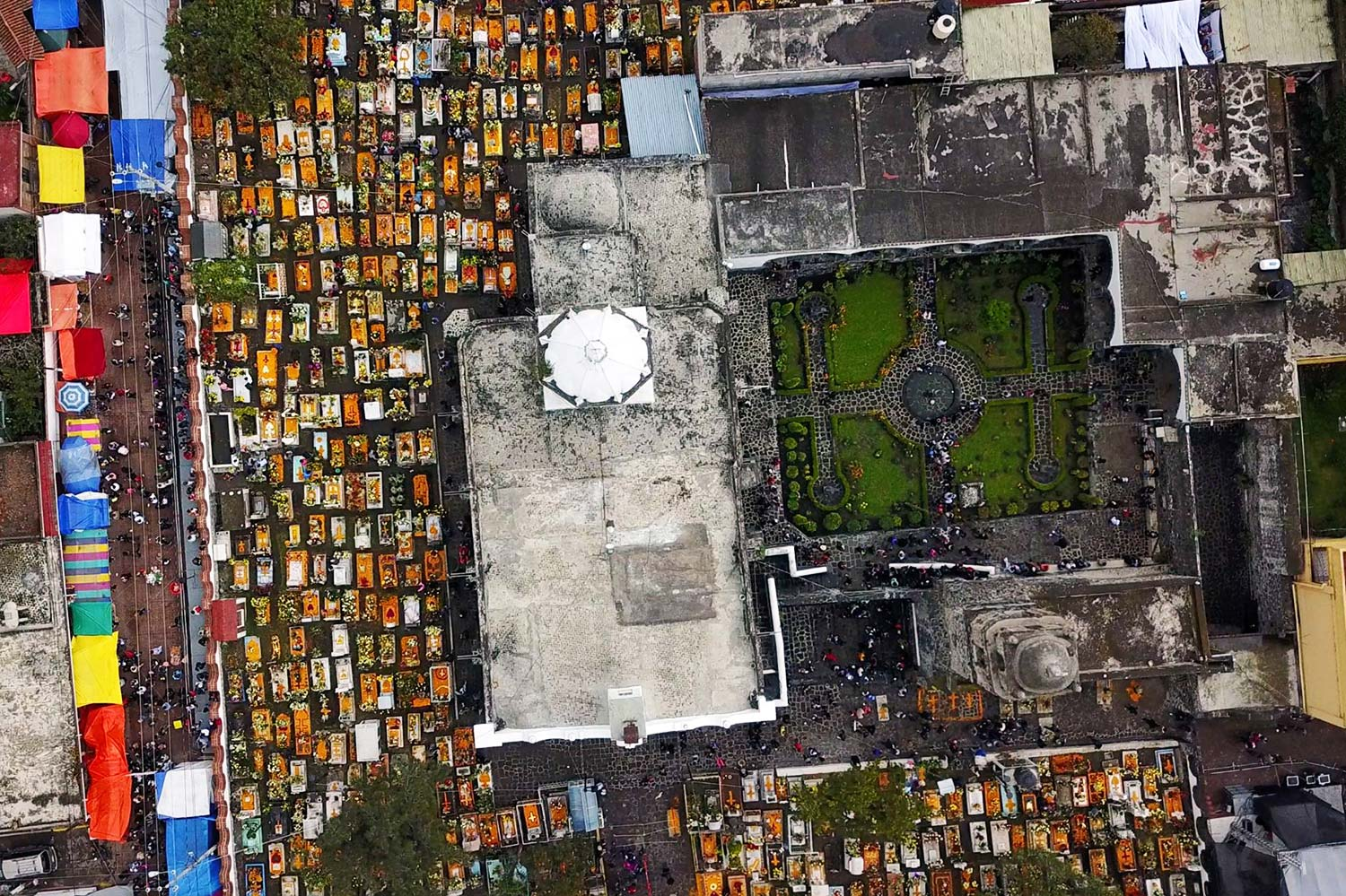 A view of the graveyard in Mixquic from above