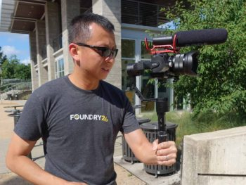 halef holding a camera on a stabilizer