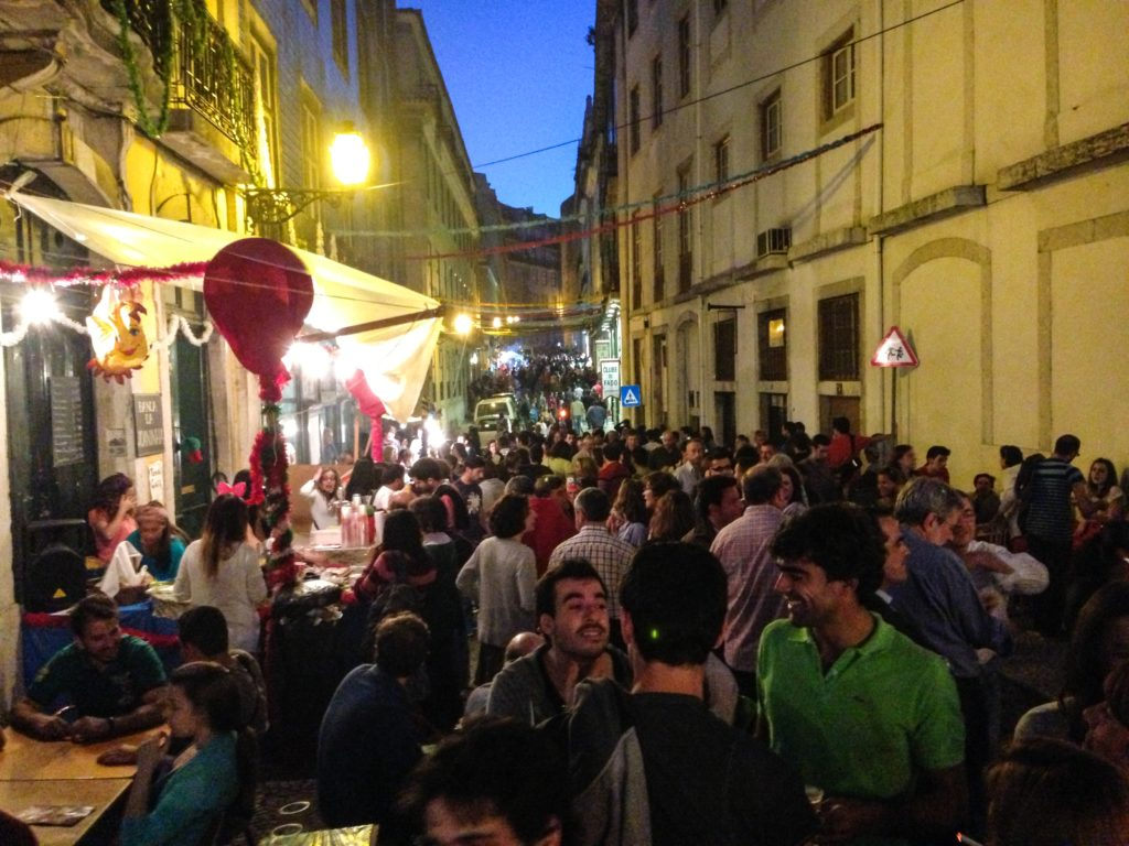 Crowds partying on Lisbon street
