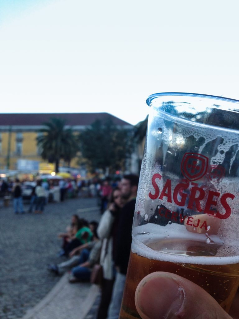 Sagres beer in a cup