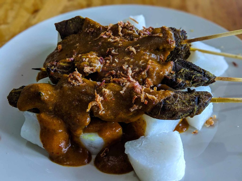 Satay beef with lontong rice