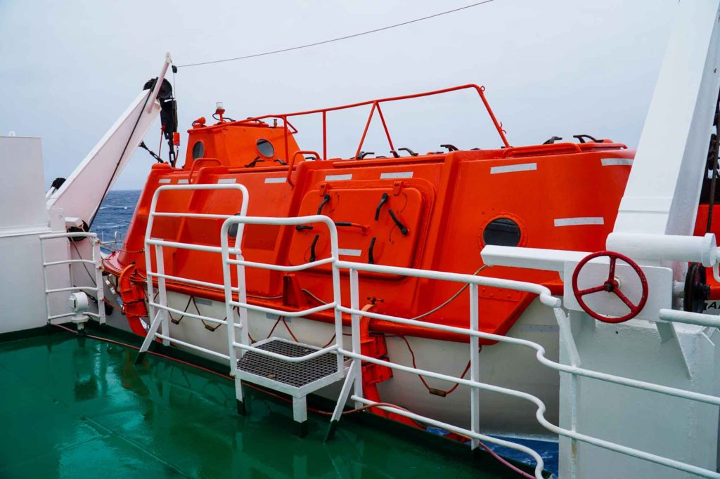 red life boat on the Akademik Ioffe