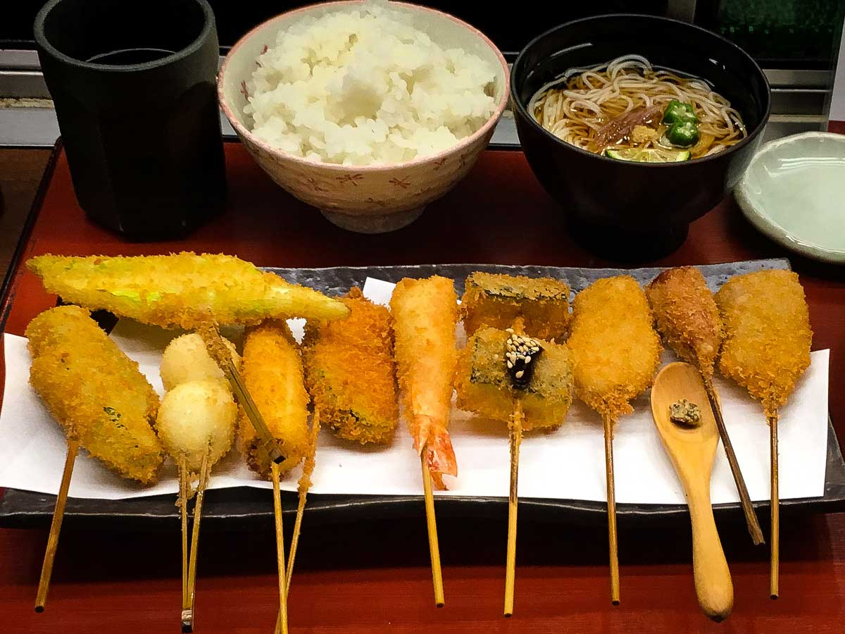 Skewers of Kushikatsu - deep fried meat, seafood or vegetable.