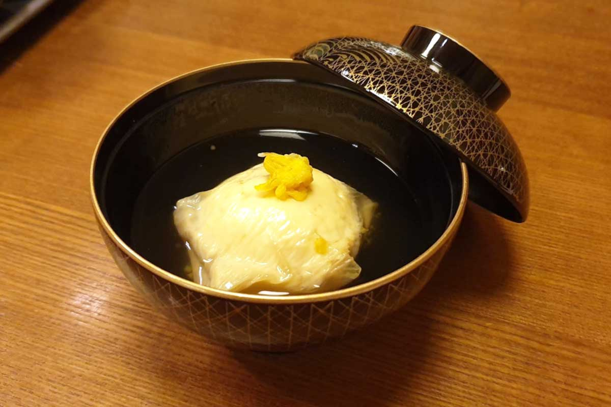 authentic japanese dishes like Scallop dumpling with Yuba, or tofu skin are often served in a bowl