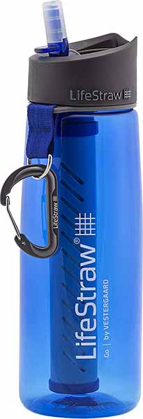 blue lifestraw go water bottle