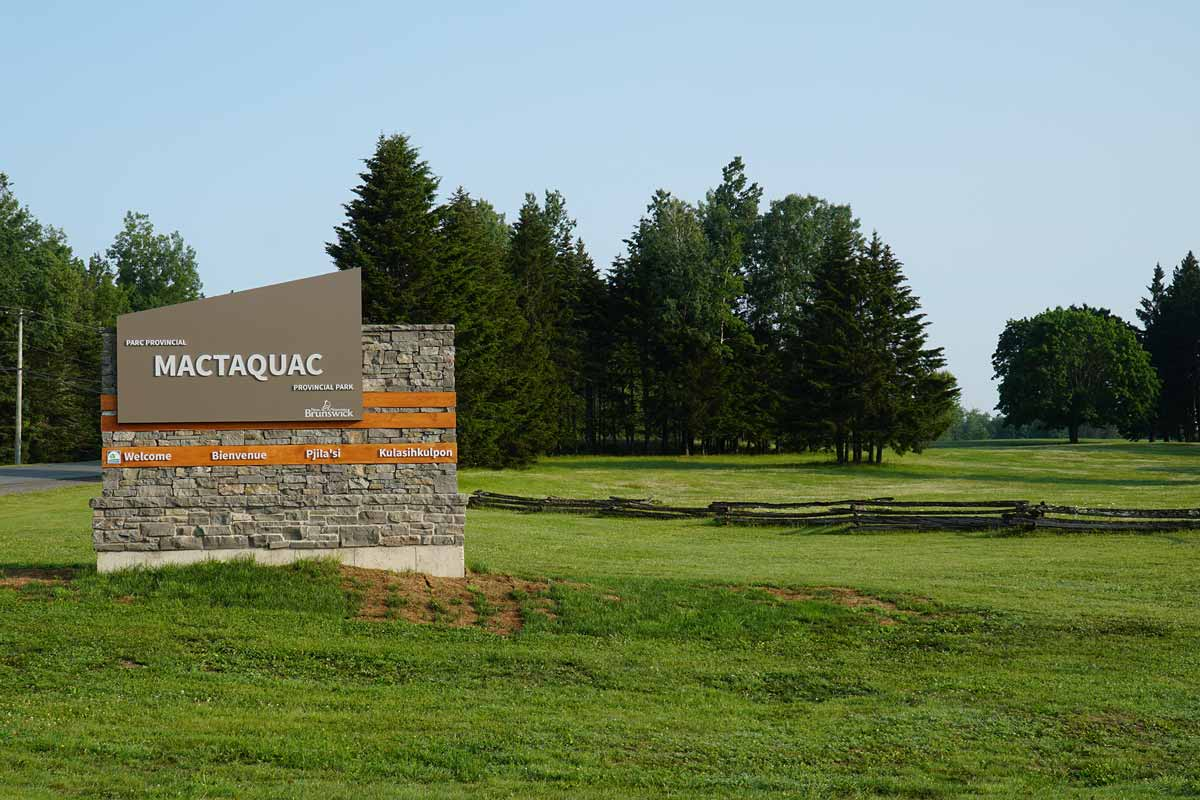 The entrance sign to Mactaquac Provincial park