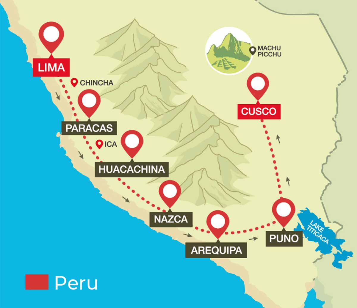Map of Peru Hop full south to cusco route Lima, Paracas, Huacachina, Nazca, Arequipa, Puno, and Cusco